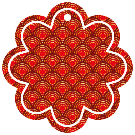 label flower chinese pattern rounded lines vector illustration
