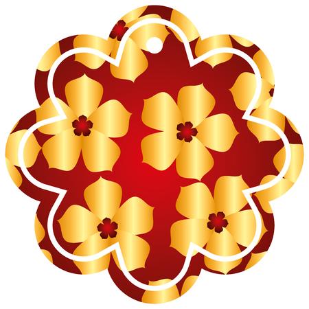 label flower chinese pattern flower sakura vector illustration Illustration