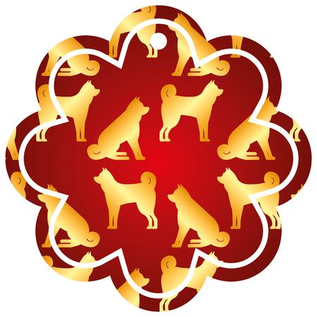 label flower chinese pattern dog zodiac calendar vector illustration