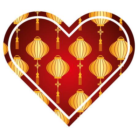 heart love lantern decoration pattern vector illustration red and golden image