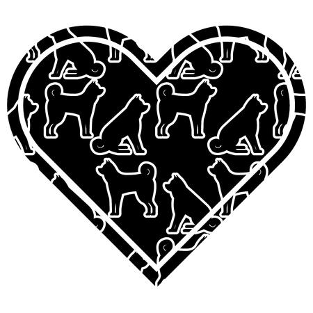 hart liefde hond dierenriem kalender patroon vector illustratie zwart en wit