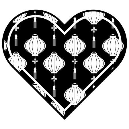 heart love lantern decoration pattern vector illustration black and white