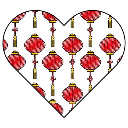 heart love lantern decoration pattern vector illustration