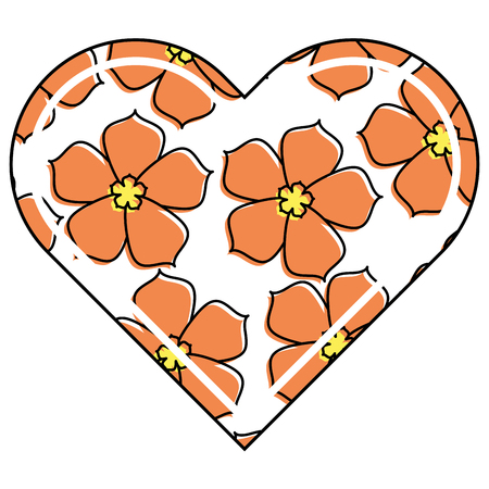 Ilustración de vector de corazón amor flor sakura tradicional patrón Foto de archivo - 91916874