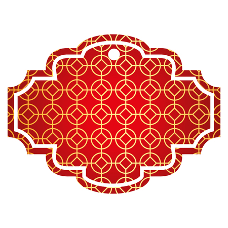 Label rounded and rhombus style pattern vector illustration red and golden image Ilustração
