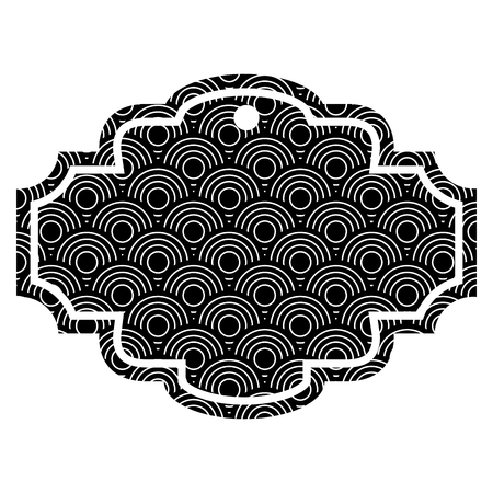 Label rounded lines pattern image vector illustration black and white
