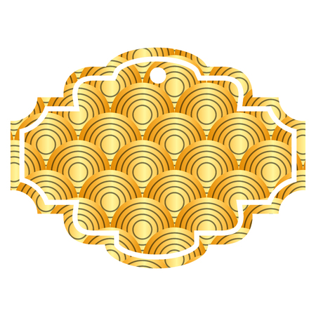label rounded lines pattern image vector illustration golden image