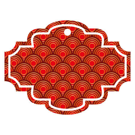 label rounded lines pattern image vector illustration red and golden image