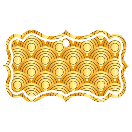 label classic rounded lines pattern image vector illustration golden image