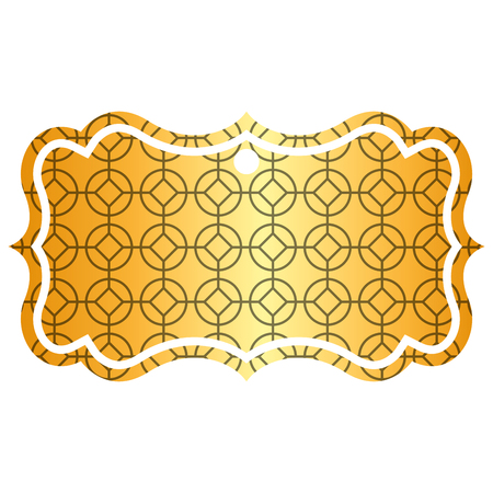 label classic rounded and rhombus style pattern vector illustration golden image