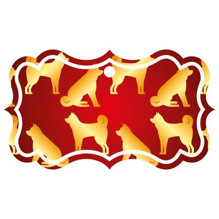 ラベル古典的な中国の犬の干支カレンダーパターンベクトルイラスト赤と黄金の画像