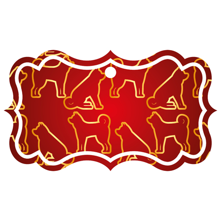 Etiqueta, clásico, chino, perro, zodíaco, calendario, patrón, vector, ilustración, rojo, y, oro, imagen Foto de archivo - 91916905