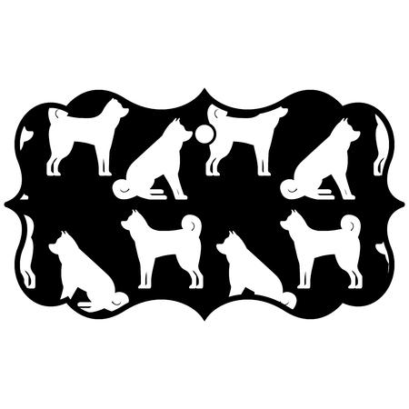 ラベル古典的な中国の犬の干支カレンダーパターンベクトルイラスト黒と白