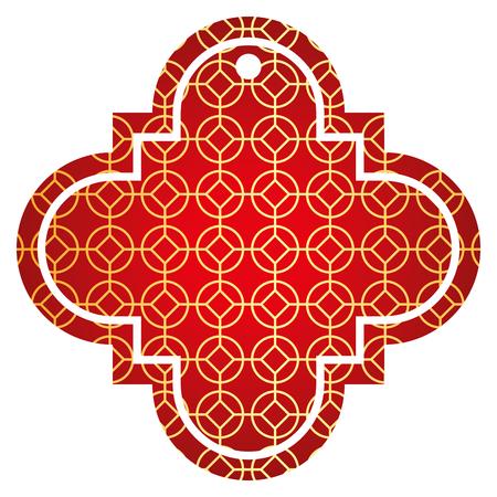 tag Chinees afgerond en rhombus stijl patroon pictogram vector illustratie rode en gouden afbeelding Stock Illustratie