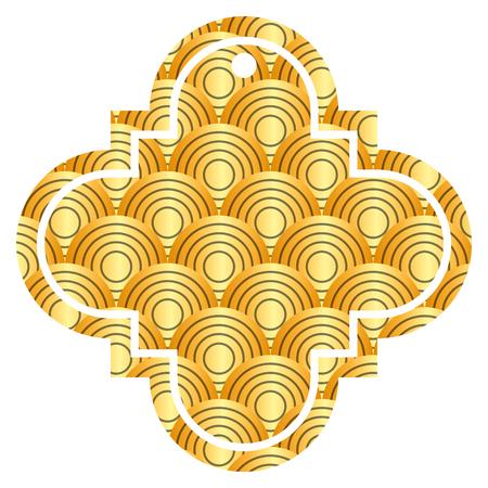 label chinese afgeronde lijnen patroon afbeelding pictogram vector illustratie gouden afbeelding Stock Illustratie