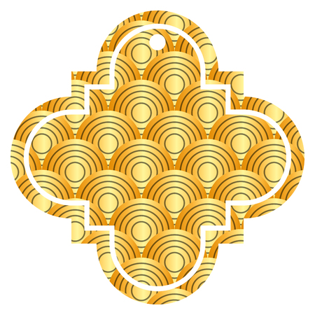 tag chinese rounded lines pattern image icon vector illustration golden image Ilustrace