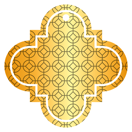 tag chinese rounded and rhombus style pattern icon vector illustration golden image