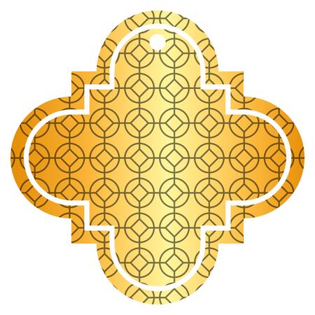 tag Chinees afgerond en rhombus stijl patroon pictogram vector illustratie gouden afbeelding