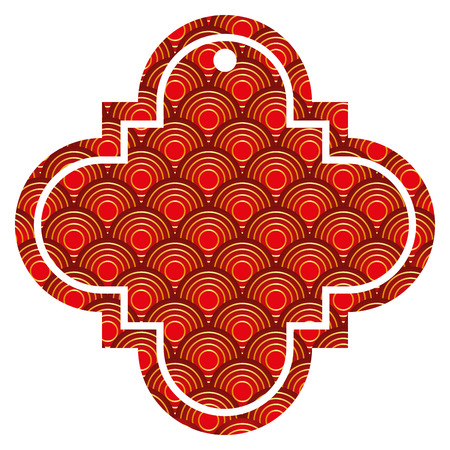 tag chinese rounded lines pattern image icon vector illustration red and golden image 일러스트