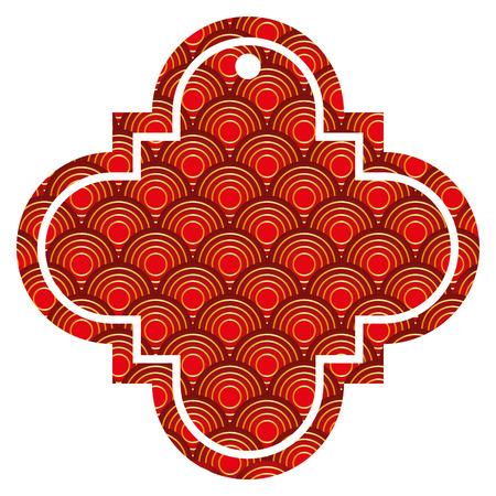 tag Chinese afgeronde lijnen patroon afbeelding pictogram vector illustratie rode en gouden afbeelding