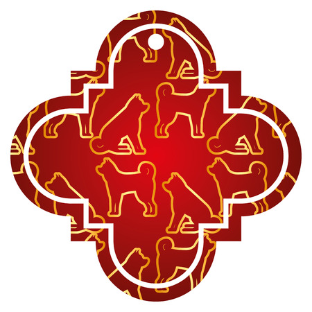 tag chinese dog zodiac calendar pattern icon vector illustration red and golden image Stock Vector - 91917377