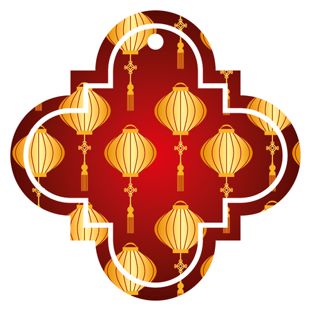 tag chinese lantern decoration pattern icon vector illustration red and golden image