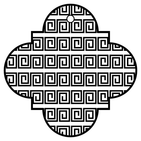 tag chinese abstract geometric design icon vector illustration black and white black and white