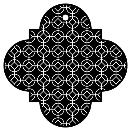 tag chinese rounded and rhombus style pattern icon vector illustration black and white Illustration