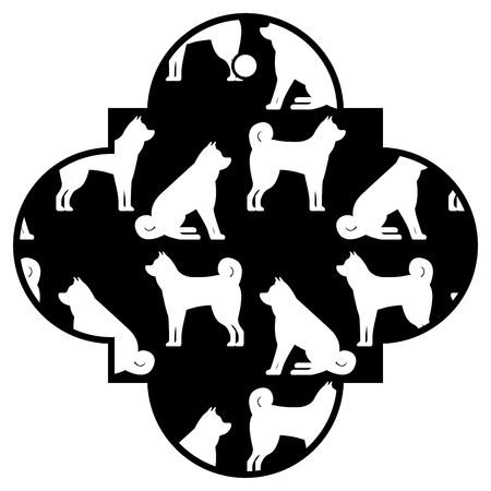 tag chinese dog zodiac calendar pattern icon vector illustration black and white