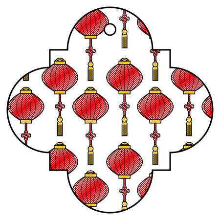 tag chinese lantern decoration pattern icon vector illustration
