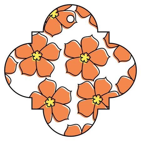 tag chinese flower sakura decoration icon icon vector illustration Illustration