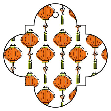 tag japanese lantern decoration pattern vector illustration