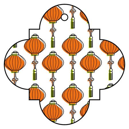 tag japanese lantern decoration pattern vector illustration Stock Vector - 91917169
