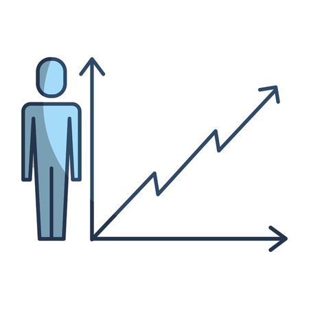 businessman with business graph growth arrow vector illustration pictogram style