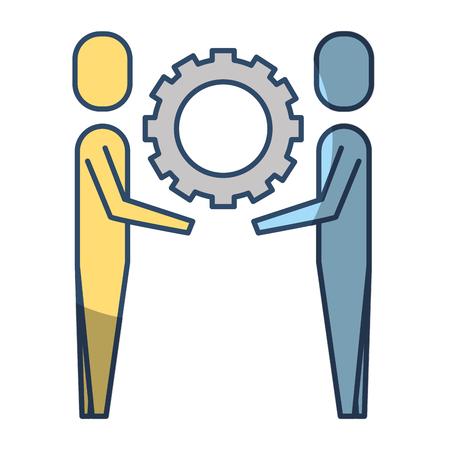 two businessmen holding gear teamwork concept vector illustration