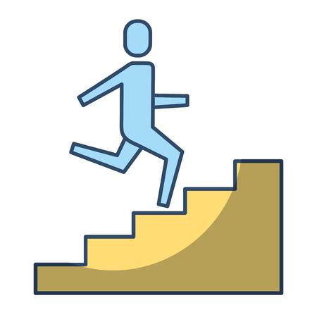 homme d'affaires grimper les escaliers jusqu'à style de pictogramme succès affaires vecteur illustration