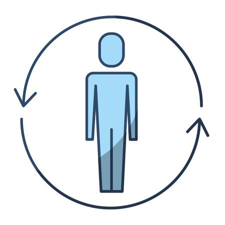 ソリューションベクトルイラストピクトグラムスタイルの周りに矢印を持つビジネスマン