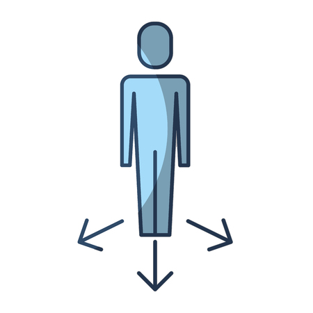 businessman options arrows direction choise vector illustration pictogram style Illustration