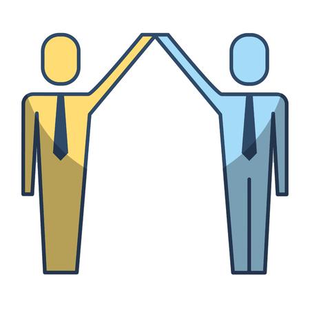 businessmen with raised arms triumph success vector illustration Illustration