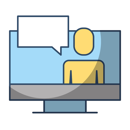 businessman on screen laptop discussion chat vector illustration pictogram style Illustration