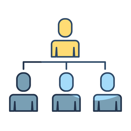 Business people organizational hierarchical scheme vector illustration