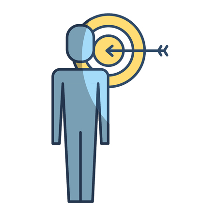 Businessman with targert arrow solution marketing vector illustration pictogram style