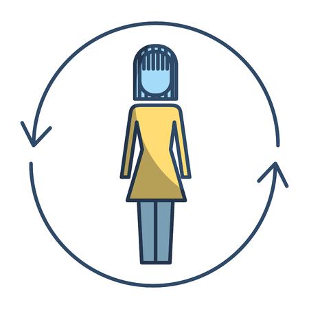 ソリューションベクトルイラストピクトグラムスタイルの周りに矢印を持つビジネスウーマン
