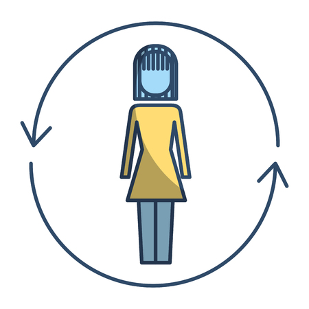 Businesswoman with arrows around solution vector illustration pictogram style 向量圖像