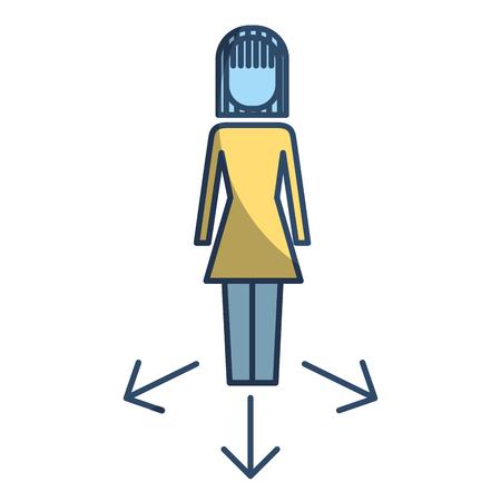 Businesswoman options arrows direction choise vector illustration pictogram style Illustration
