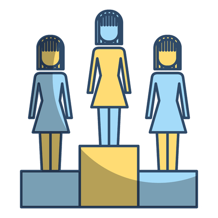 Business women in podium competition success vector illustration