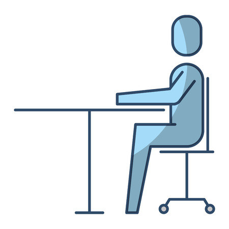 Businessman sitting in chair desk office work vector illustration pictogram style