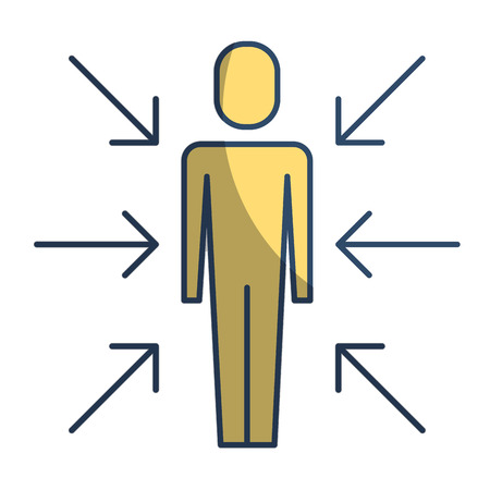 Businessman standing with arrows conflict of interest vector illustration pictogram style