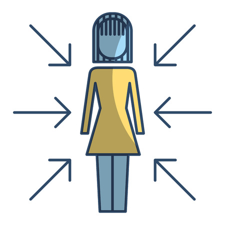 Businesswoman standing with arrows conflict of interest vector illustration pictogram style