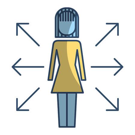 Businesswoman options arrows direction choise vector illustration pictogram style 일러스트